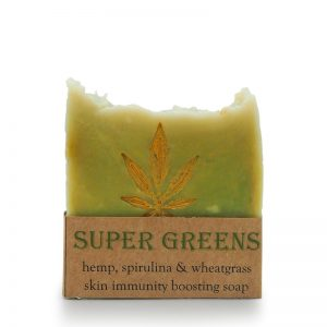 super greens soap. hemp soap, spirulina, wheatgrass, luscious, skin immunity, soap