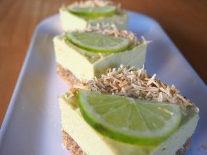 Vegan lime and coconut cheesecake