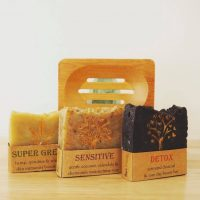 Soap Trio & Bamboo Soap Holder